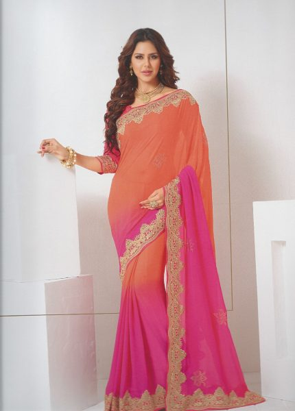 orange-cerise-sari-with-gold-border-392-p