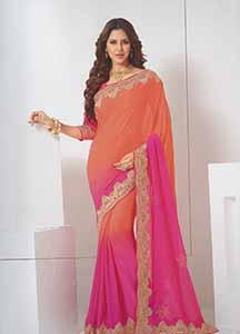 Orange saree with gold border