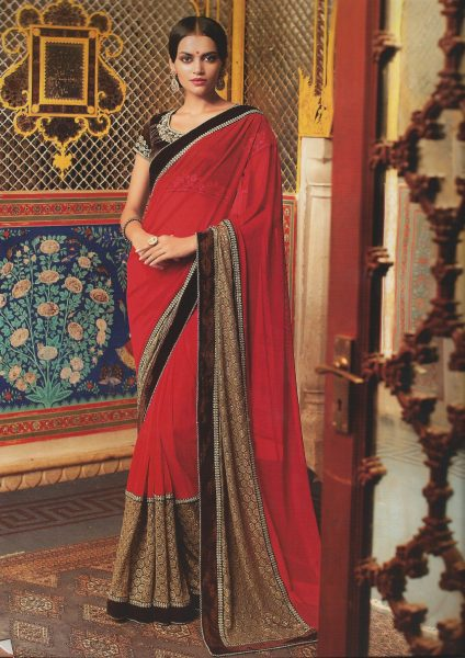 red-sari-with-brown-gold-shimmer-lace-378-p