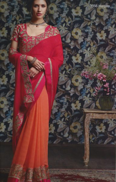 sari-coral-orange-with-gold-thread-work-border-329-p